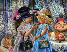 Trademark Global Tricia Reilly-Matthews 'Playing Dress Up' Canvas Art - 35 Artist Canvas, Canvas Art, Girls Dress Up, 5d Diamond Painting, 2 Girl, Diy Painting, Playing Dress Up, Cute Kids, Art For Kids