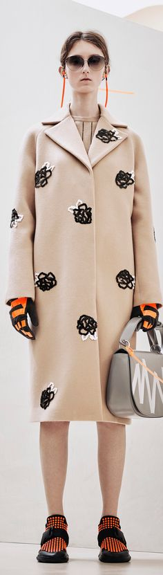 INSPIRATION & TAKE-AWAY: Christopher Kane Pre Fall 2016. The take-away is, a neutral straight silhouette coat with a bold glove color.