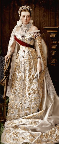Grand Duchess Anastasia in a gold embroidered russian court dress.