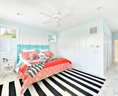 Splashy White Coral Decoration  mode Philadelphia Beach Style Bedroom Decoration ideas with  beach home black and white striped rug blue and white board and batten siding
