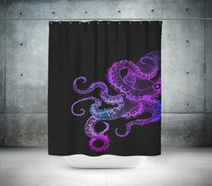 Octopus Shower Curtain Black and Purple by FolkandFunky on Etsy
