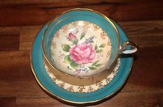 Aynsely Cabbage Rose Teacup Tea Cup Saucer Turquoise Gold Vintage