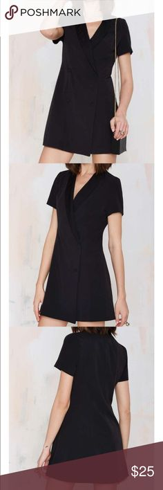 #46 nasty gal 🐥🌈 Silk suit, black tie, you don't need a reason why. The Sharp Dressed Woman Tuxedo Dress is made in black twill and features satin contrast at lapel, double-breasted design with covered buttons, and crossover silhouette. Unlined. Team it up with loafers and ankle socks to tone it down, or platforms and thigh-highs to amp it up.  *Polyester/Rayon/Spandex  *Runs true to size  *Model is wearing smallest size available  *Machine wash cold  *Imported Nasty Gal Dresses Mini