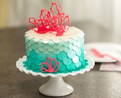 Gorgeous coral cake for an under-the-sea themed birthday party.