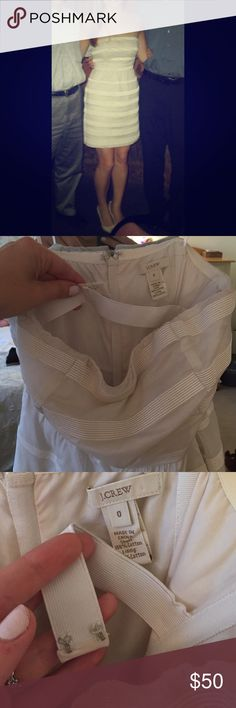 J. Crew Strapless dress * Pockets * size 0 Cream Beautiful J.Crew dress worn once for gradation and I hate to see it go. Turns out the Freshman 15 happen after you graduate college sometimes.. Fully lined, with building in back bra strap, you could wear without a bra (I did!) the right clasp shown in pic 3 needs and extra stitch but still holds just fine. There are pretty ribbing strips that bring great texture to the dress. Size 0 very flattering and with pockets !! Originally $128 !! Would…
