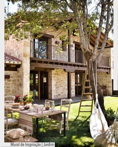 House rustic country patio New ideas Style At Home, Design Exterior, Patio Design, Exterior Colors, Garden Design, Stone Houses, Home Fashion, My Dream Home, Future House
