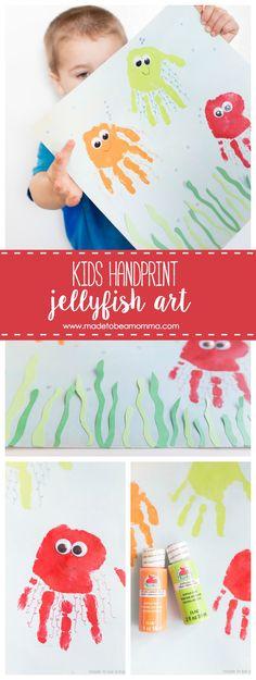 Kids Handprint Jellyfish Art: celebrate summer with this fun handprint kids craft!