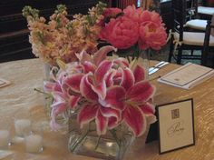 pink stargazer lily centerpieces | Evi's blog: Satin Strapless Sweetheart Neckline with Asymmetrical ...