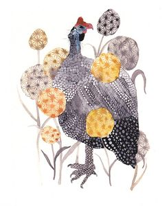 African hen Fowl, watercolour by Michelle Morin