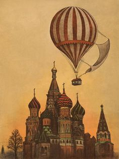 Moving to Moscow - Terry Fan Illustration. Air Ballon, Hot Air Balloon, Art And Illustration, Terry Fan, Favim, Bunt, Just In Case, Illustrators, Cool Art