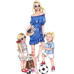 Style of Brush by Gizem Kazancigil Mother Daughter Art, Mother Art, Mother And Child, Family Illustration, Illustration Mode, Illustration Artists, Cute Girl Drawing, Cute Drawings, Twin Baby Girls
