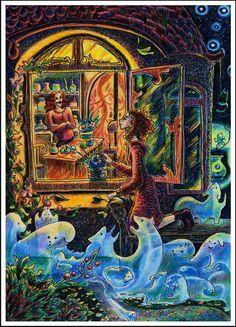 """""""Кофейня. Окно в сад. Триша и Франк"""" (с) Инна Майзель"""