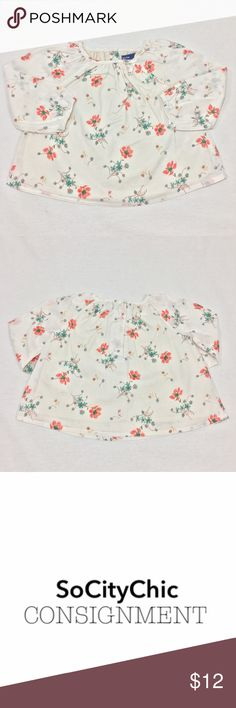 BABY GAP FLORAL BLOUSE BABY GAP FLORAL BLOUSE. LONG SLEEVES. FLORAL PRINT. CREW NECK WITH BOW DETAIL. CENTER BACK BUTTON CLOSURE. LINED. FABRIC: COTTON. CONDITION: GENTLY USED/ NO SIGNS OF WEAR. SIZE 6-12M. GAP Shirts & Tops Blouses