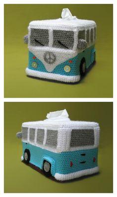 Crochet VW Bus Tissue Box Cover Pattern