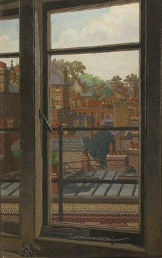 'Rooftops', oil paint on canvas by Charles Ginner 'The view in this painting is believed to be from Ginner's window when he lived in Hampstead, North London. Window View, Window Art, Open Window, Landscape Art, Landscape Paintings, Oil Paintings, London Painting, Art Uk, City Art