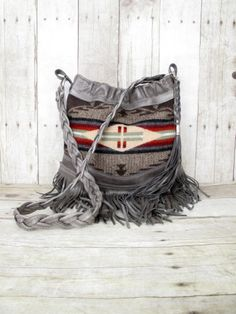 Leather Fringe Bag, Small Leather Purse, Studded Hobo, Tribal Bag, Grey Leather, Vintage Handmade, Wool From Pendleton, Oregon