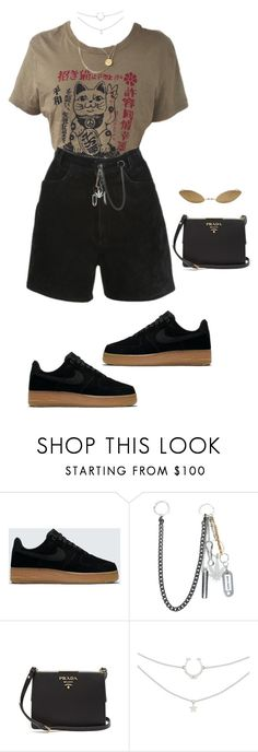 """""""Untitled #4560"""" by mollface ❤ liked on Polyvore featuring NIKE, Palm Angels, Prada and Acne Studios"""