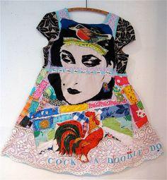 Amazing textile artist on Etsy...Bonny Gorsuch. Eclectic Wearable Art Collage DRESS w/ Vintage Fabrics Sz M-L