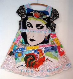Amazing textile artist on Etsy...Bonny Gorsuch. Eclectic Wearable Art Collage DRESS w/ Vintage Fabrics Sz M-L