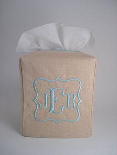 Linen Monogrammed Tissue Box Cover by OctaviaStreet on Etsy, $19.00