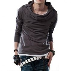 $7.78 New Style Hooded Slimming Deign Long Sleeves Cotton Blend T-Shirt For Men