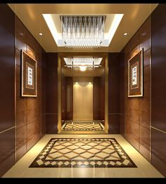 Like the size of it. Don't like the mirror. The elevator should be large, like an IKEA 2 ton elevator. Floor Design, Ceiling Design, Wall Design, Lift Design, Cabin Design, Foyer Flooring, Flooring Ideas, Modern House Colors, Elevator Design
