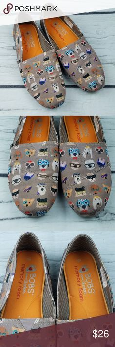 Skechers Bobs for Dogs Gray Memory Foam Flats Women's Bobs for Dogs from Skechers Flats Gray with adorable dog print! US Size 5.5 Pre-owned in great condition!  SE6-4 Skechers Shoes Flats & Loafers