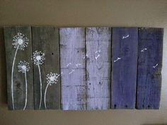 #Dandelion in #purple. #Rustic #sign.