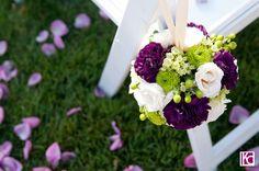 Purple, White, & Green Pomander by Bouquets of Austin @Vintage Villas