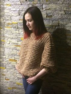 Купить Свитер в стиле бойфренд с рукавами фонарик - бохо, свитер бойфренд, крупная вязка