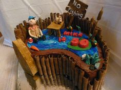 50th birthday fishing pond - this cake is for a 50th birthday fisherman...the one that got away