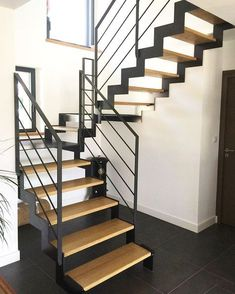 Manufacturing metal wood staircase modern staircase in Brittany Morbihan Fa Home Stairs Design, Railing Design, House Design, Railing Ideas, Interior Stair Railing, Escalier Design, Steel Stairs, Staircase Railings, Stair Treads