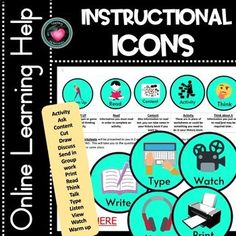 Instructional Icons and images - Created to use as Visual Instructions for consistency among class notebooks. I use these in my Class OneNote notebooks for each subject to cut down on reading instructions. These images have been created to simply insert into your online platforms to assist with foll...
