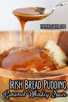 Irish Bread Pudding with Caramel Whiskey Sauce -- a traditional Irish dish that would be a great addition to your St. Patrick's Day table!