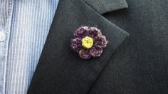 Purple Men Lapel Pin  Buttonhole pin  Purple by KenBoutonniere
