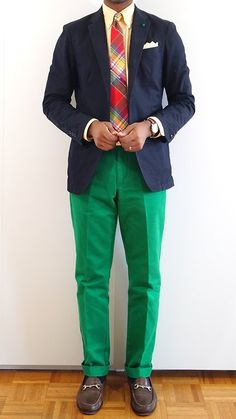 Trendy Ideas How To Wear Green Pants Men Menswear Preppy Mens Fashion, Gents Fashion, Green Pants Men, Navy Sport Coat, Sport Coats, Blazers For Men Casual, Bright Pants, Preppy Dresses, Well Dressed Men