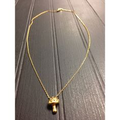 """Mushroom Necklace NWT gold plated brass mushroom necklace, 16"""" long.  Jewelry Necklaces"""