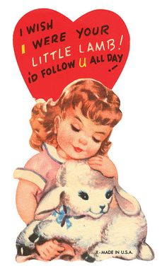 Precious little girl and lamb vintage Valentine. Great for cards, scrapbooking, printing & framing, gift tags, altered art, decoupage, etc.