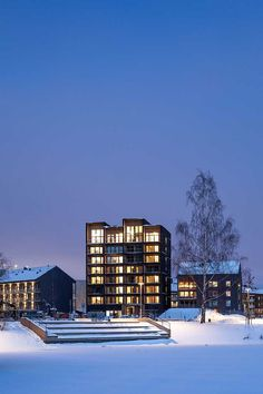 Sweden's tallest wood building – a residential complex with a massive timber frame, at Kajstaden, Västerås, by C. Scandinavian Apartment, Scandinavian Design, Multi Storey Building, Weekend Cottages, Sustainable Building Materials, Timber Buildings, Residential Complex, Apartment Complexes, Swedish House
