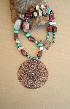 BOHO Stone Necklace Boho Cowgirl Jewelry Western by BohoStyleMe