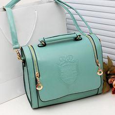 Women double pull vintage leather retro handbag shoulder messenger bag