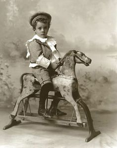 Little Boy Hat Knickers on Vintage Toy Rocking Horse Antique 1890 From Negative