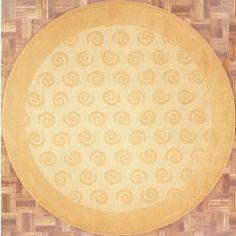 Handmade Circular Area Rug 8x8 in Gold with Circular Swirl Patterns area rug