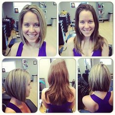 Before and after womens hair. Long brown hair transformed into a short bob with blonde highlights. Hair by Paola Lugo. Duncan Edward- Progressive European Hair Design in Madison, WI. www.duncanedward.com