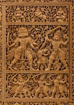 Book cover made of sandalwood carved with scenes from the Ramayana, Mysore palace