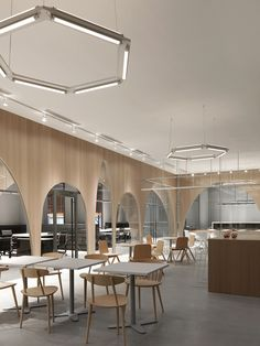 "Wooden partitions with arch-shaped cutouts are used to separate the workspaces from an indoor ""courtyard"" inside fashion brand H&M's head office in Taiwan Decoration Restaurant, Restaurant Design, Meat Restaurant, Corporate Interiors, Office Interiors, Office Interior Design, Interior Design Inspiration, Office Designs, Cafeteria Design"