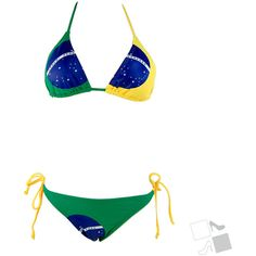 Brazil Flag Triangle Top Bikini Bottom Set found on Polyvore. Must. Have.