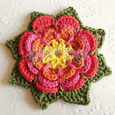 Beautiful Crochet Flower Tutorial from: Olav World – teresajames Beau Crochet, Crochet Mignon, Crochet Diy, Crochet Stitch, Love Crochet, Crochet Motif, Beautiful Crochet, Crochet Crafts, Yarn Crafts