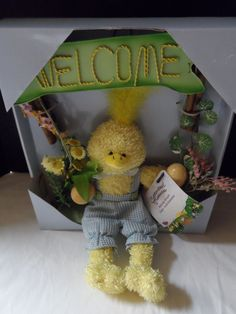 """$39.97/ Easter Wreath says """"Welcome"""" and features a plush chick, this is accented with Flowers Floral and Wood -this is NEW in box ~Seasonal holiday Home Decor Accent www.stores.ebay.com/Shellys-Sweet-Finds"""