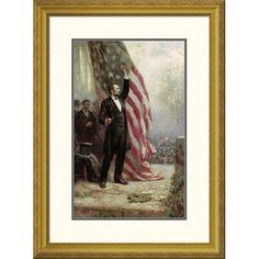 Global Gallery 'Lincoln at Independence Hall' by Jean Leon Gerome Ferris Framed Painting Print Size: